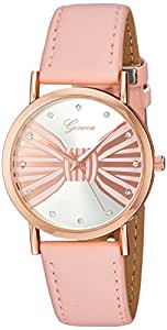 Geneva 女式石英金属和聚氨酯手表,颜色:粉色(型号:AM11204RG439-896)