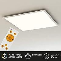 Briloner Leuchten 7195-016 吸顶灯面板,可调光,色温控制,遥控,36W,3800流明,LED灯,客厅灯,白色,59.5厘米