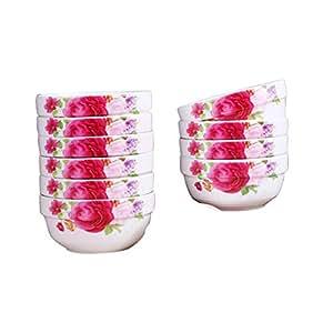 联春 Q-16景德镇餐具碗勺套装10个装中式家用陶瓷碗餐具 (10碗, 心心相印)