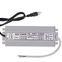 IEZXE 150W DC12V LED 电源驱动变压器适配器,Ip67 防水 AC 110-260V LED 户外照明灯带驱动器 12V 150W
