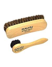 Shoe Shine 刷子,带洗发器。 深色鬃毛。 * 马鬃。 抛光木柄 2 件套。