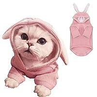 ANIAC 宠物连帽衫猫兔子衣服兔子衣服可爱运动衫春秋小狗针织毛衣凯蒂猫柔软针织衫(XS 码,粉色)