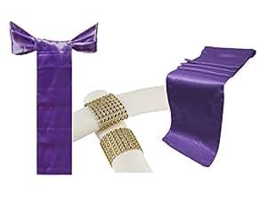 """组合缎面包 10 张桌巾 30.48 x 274.32 厘米和 50 张椅子蝴蝶结腰带和 50 个塑料水钻餐巾戒指婚礼宴会厨房家居装饰 紫色(Lavender) 26 X 108 INCH & 6"""" x 108"""" INCH LAVENDER SATIN 10 TR & 50 BOW & 50 NR G"""