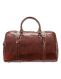 alberto BELLUCCI 意大利皮革 carry-on 旅行者旅行包棕色行李袋