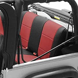 Coverking Custom Fit Seat Cover for Jeep Wrangler TJ 2-Door - (Neoprene, Black/Red)