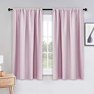 "PONY DANCE 遮光窗帘 - 杆袋窗帘套装隔热窗帘板降噪窗帘,适用于卧室,宽 106.68 cm 浅粉色 42""W X 45""L PDUSBLKRP2-4245PINK"