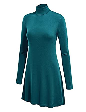 LL Womens Long Sleeve Handkerchief Hem Tunic - Made in USA  Wt992_teal X-Large