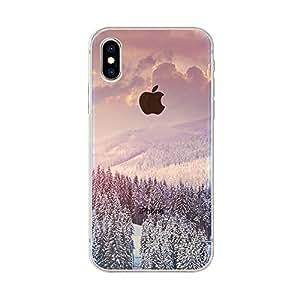 FancyCase 与 iPhone Xs Max 手机壳兼容,Fancy Case 出品的全新透明趣味风格柔软 TPU 保护壳 冬季森林