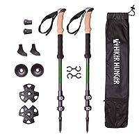 Hiker Hunger * 碳纖維徒步杖 - 超輕、可折疊,帶有快速翻鎖、軟木手柄、鎢尖端