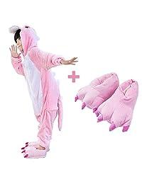 儿童中性龙连体衣睡衣动物服装睡衣,带怪物拖鞋年龄 2-10 岁