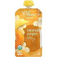 Plum Organics 阶段2幼儿辅食,香蕉和南瓜,4盎司,113克,袋装(每包12个)