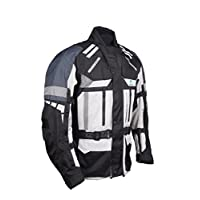 Roleff Racewear 織物摩托車夾克帶防護墊,灰色,黑色,小號