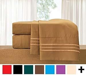 优雅舒适 3 件套床单套装 - 奢华高级床上用品 1500 支埃及品质抗皱不褪色防*凉爽透气,弹性好 摩卡色 加州King size 82RW-Cal-King-Bronze