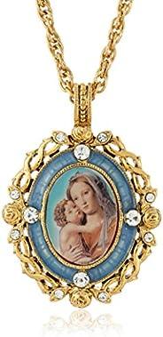 仙子象征靈感 14k 金浸漬水晶藍色搪瓷瑪麗和兒童吊墜項鏈