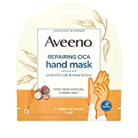 Aveeno 修复 CICA 护手面膜,含益生元燕麦和乳木果油,超干性皮肤,不含防腐剂,不含香料 1 副 Pack of 5