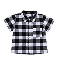 幼儿男童女童服装绅士服装红色格子法兰绒正式衬衫带纽扣儿童服装 1-6T Grey-short 4-5T