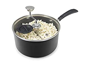 Zippy Pop Stovetop Popcorn Popper with Glass Lid 黑色 5.5 Quart