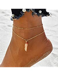 Aukmla 波西米亚分层脚链手链金色吊坠脚链珠脚链沙滩脚链首饰适合女士和女孩脚链-020