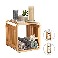 Relaxdays 竹架,圆形立式架子,窄型浴室架,带架子,方形,不同尺寸,自然 自然 2 Ablagen 10024216_347