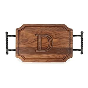 """CHUBBCO W310-STWB-D Cutting Board with Twisted Ball Handle Finish with Scalloped Corners, 12-Inch by 18-Inch by 1-Inch, Monogrammed """"D"""", Walnut"""