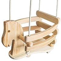 Ecotribe 木制摇摆,幼儿和婴儿秋千,户外和室内使用,环保光滑桦木与天然棉绳,涂漆摇椅,适合 6 个月至 3 岁的宝宝 马