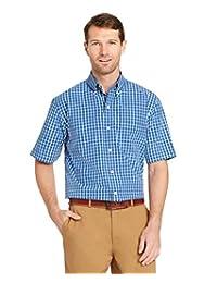 Arrow 男式高大款短袖 Hamilton 府绸衬衫
