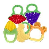 Baby Teething Toys (5 只装) xFF0;经 FDA 批准的软硅胶水果牙胶;适合宝宝;冰箱和洗碗机;适合男孩和女孩;不含 BPA