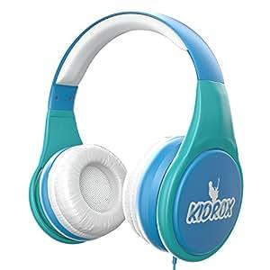 kidrox 蓝牙儿童耳机 | 无线 VOLUME LIMITED 耳机带填充靠垫和可拆卸 size-adjuster | 保险柜儿童 蓝色