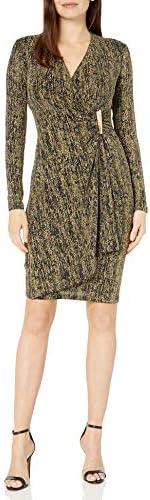 Calvin Klein 女士 金屬人造裹身連衣裙