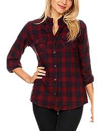 女式常規和青少年加大系扣格子/格子法蘭絨襯衫 S 至 3X
