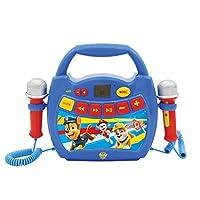 Lexibook MP300PAZ 狗狗巡逻队,Chase & Marshall,我的*个卡拉OK音乐播放器,带2个玩具麦克风,无线录音功能,声音效果,蓝色/红色