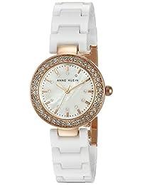 Anne Klein 女士 AK/1986RGWT 施华洛世奇水晶点缀玫瑰金色和白色陶瓷手链手表