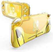 任天堂Switch Lite 2019 的Mumba 保护套,[Thunderbolt 系列] 透明保护盖带 TPU 手柄 黄色