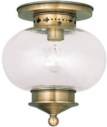 Livex Lighting 5036-01 Harbor 1-Light Ceiling Mount, Antique Brass 需配变压器