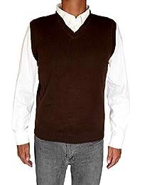 TINKUY 秘鲁 - 秘鲁羊驼毛 - 男士背心 基本款 V 领毛衣套衫 - 棕色