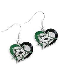 NHL 达拉斯星漩涡心形耳环