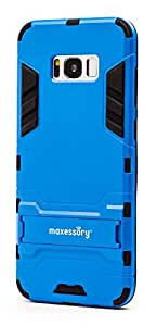 maxessory STEALTH 超薄双层防震坚固耐用橡胶握把 rigid 装甲手机壳配支架父适用于 SAMSUNG GALAXY S8PLUS/SAMSUNG GALAXY S8+ 保护套 蓝黑色