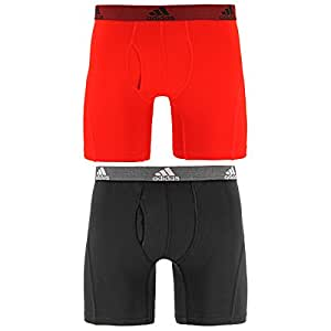 adidas Men's Relaxed Performance Climalite Boxer Brief Underwear (2 Pack) Scarlet/Black X大码