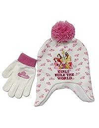 Disney Princess 冬季帽子和手套套装,4-12 岁女孩白色和粉色