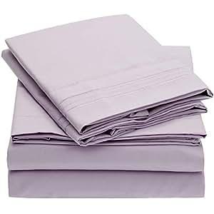 Mellanni 床单套件 拉绒超细纤维 1800 床上用品 - 深口袋,防皱,防污渍 - 低*性 紫色(Lavender) 加州King size 703546080375