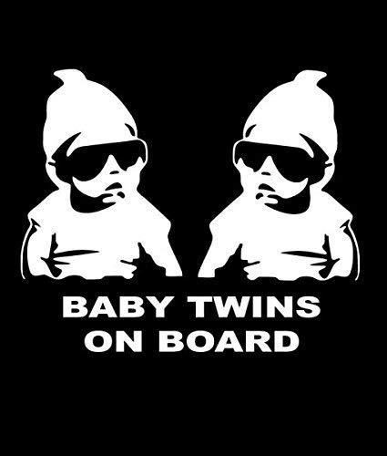 Baby Twins On Board 婴儿卡洛斯趣味贴花乙烯基贴纸汽车卡车货车壁笔记本电脑白色17.78 x 13.97 厘米CCI1181