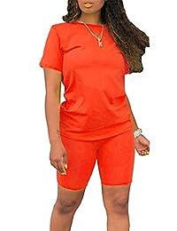 女式彩虹 2 件套 - 休闲短袖 T 恤紧身短裤套装连身裤 (Solid) Orange Large