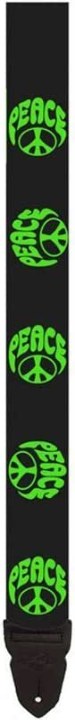 LM Products PS4GP 2-Inch Silk Screen Poly Guitar Strap - Green Peace Sign Design