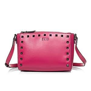 ELLE 女式 牛皮单肩 斜挎铆钉包 TM151S60287PK 粉色 均码