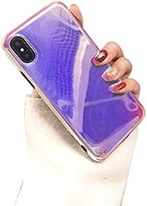 iPhone X 手机壳, blingy 新款光面创意北极光风格保护套适用于 iphone X Light Purple