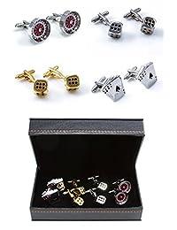MRCUFF Casino Gambler Card Poker Player 4 Pairs Cufflinks in Presentation Gift Box & Polishing Cloth