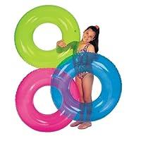 Intex 怀旧浮圈 三色透明萤光游泳圈 成人儿童救生圈  送充气泵 (展捷系列)