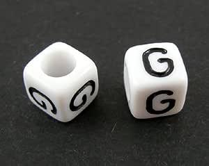 PEPPERLONELY 50 克(Apprx 200 PC)白色亚克力垫圈字母珠,7x7mm(1/4x1/4 英寸) 7#. G