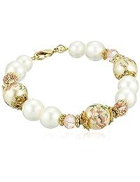 1928 Jewelry 女士金色花朵贴花珍珠和珍珠链手链,多色,7.5