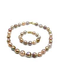 Rakumi AAA10-12 毫米多色淡水养殖巴洛克珍珠项链和手链首饰套装